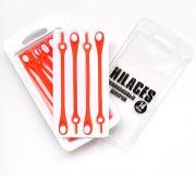 Cиликоновые шнурки для обуви Hilaces цвет Оранжевый/Белый в раскрытой упаковке