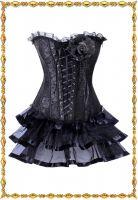 Готический черный корсет с юбкой