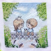 Схема для вышивки крестом Нежные иллюстрации - На мостике. Отшив