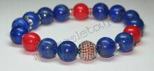 """Браслет из лазурита и коралла в серебре """"Red and blue"""""""