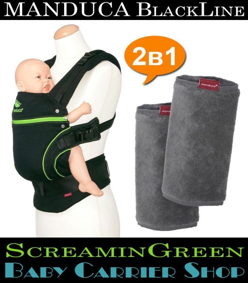 Комплект 2в1 MANDUCA BlackLine ScreaminGreen «Слинг-рюкзак Baby Carrier + Накладки на ремни Fumbee» [Мандука набор эргорюкзак+накладки Черный-Зеленый+Серый]