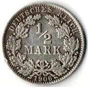 1/2 марки. 1906 год. А. Серебро. Германия.  0,9000 Серебро. 20 мм. 2,77 г.