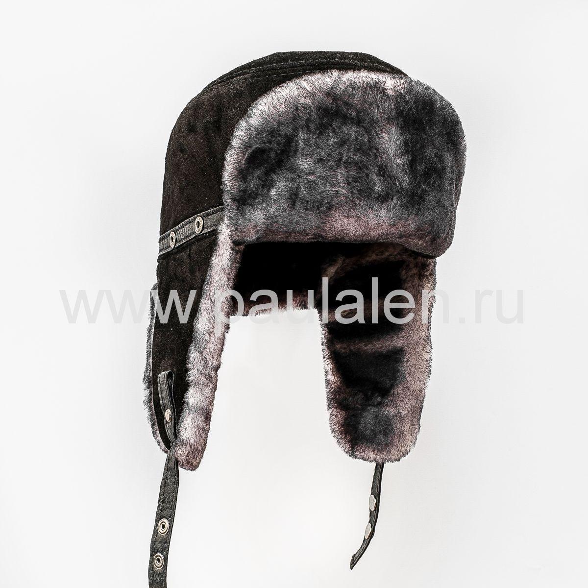 """Мужская шапка-ушанка """"Пилот"""" из овчины. Архив_B046"""