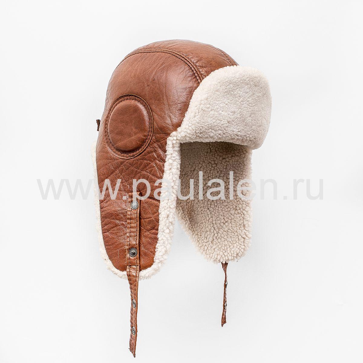 Мужской шлем Авиатор из меха овчины и натуральной кожи B016_L