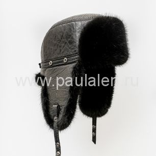 Норковая шапка-ушанка (Пилот) черная кожа, черный мех B008