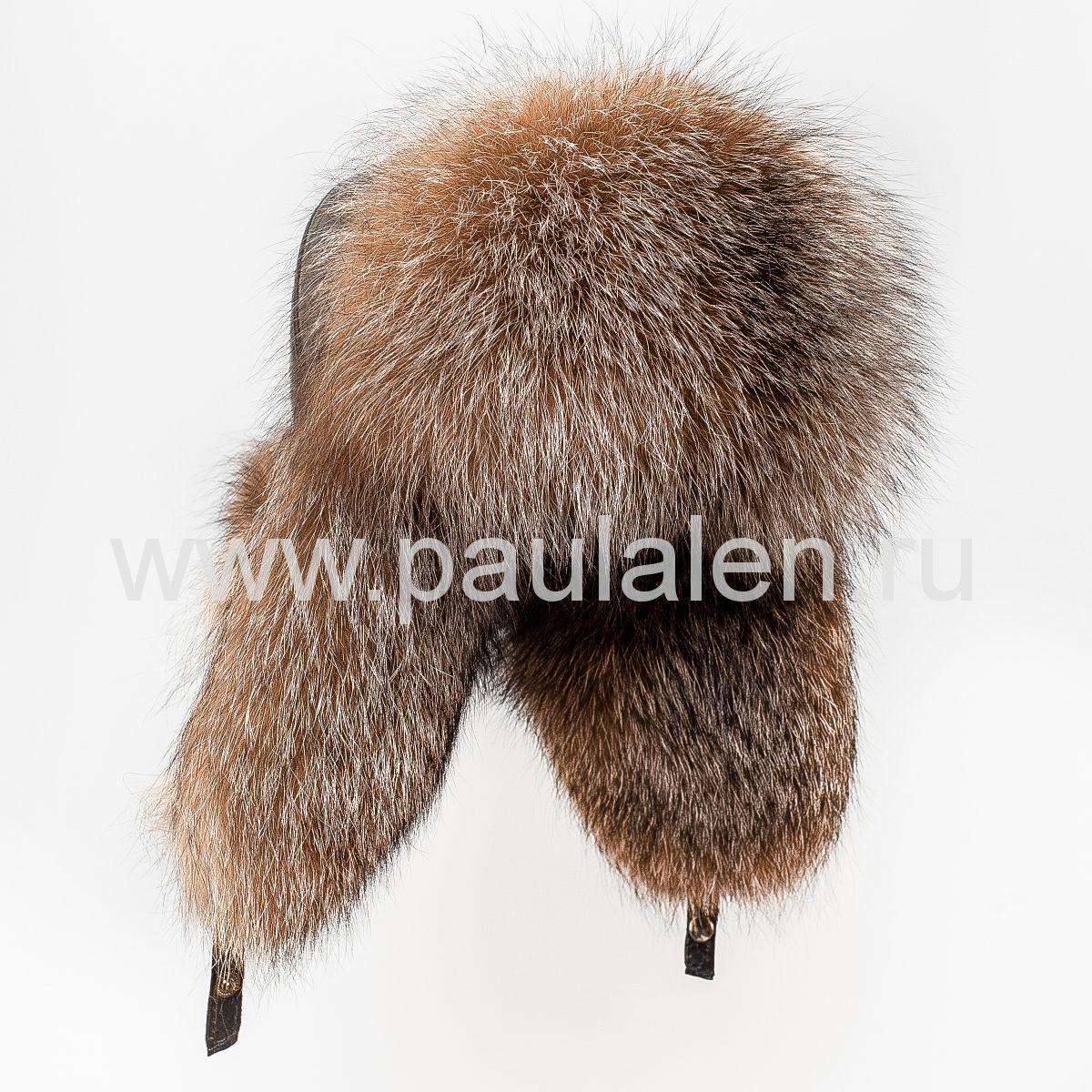 Женская шапка ушанка из меха лисы чернобурки A024
