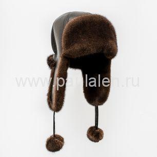 Женская норковая шапка ушанка с помпонами. Артикул A012
