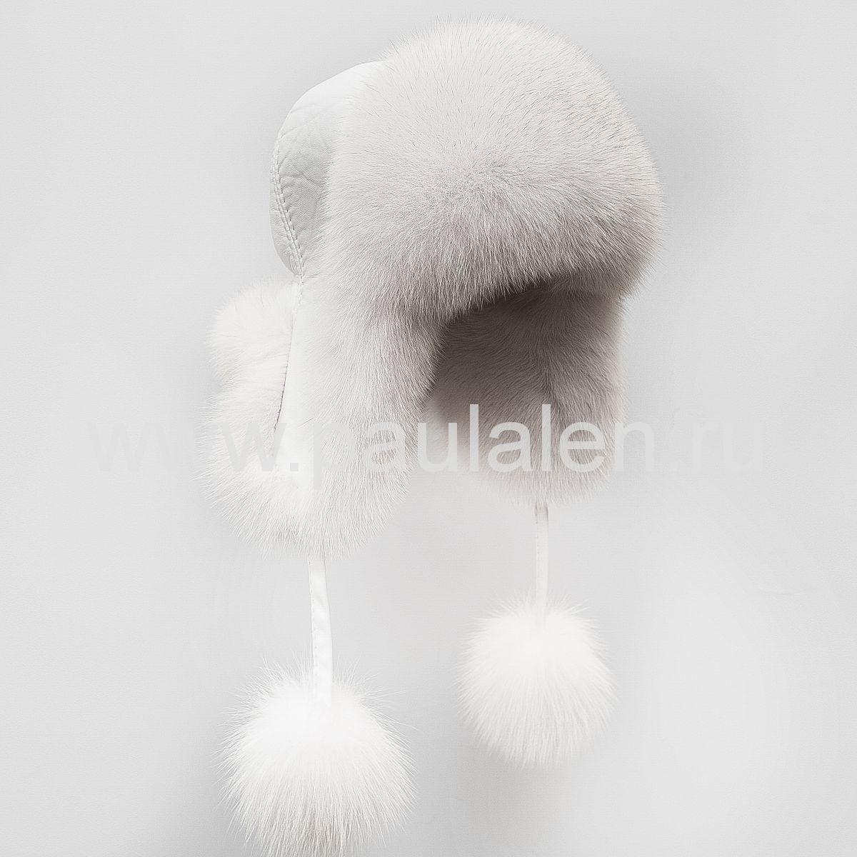 Женская шапка ушанка из меха песца и кожи с помпонами, артикул A001
