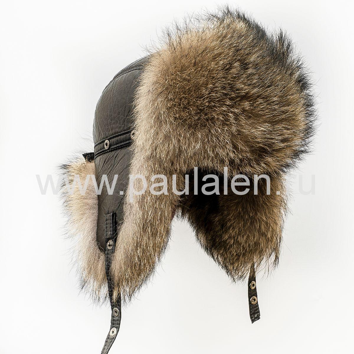Мужская меховая шапка Пилот из меха серого волка. Архив_B003
