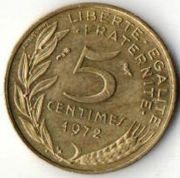 5 сентим. Франция. 1972 год.