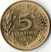 5 сентим. Франция. 1973 год.