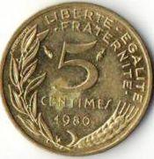 5 сентим. Франция. 1980 год.
