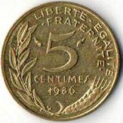 5 сентим. Франция. 1986 год.