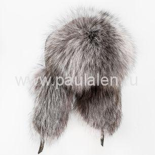 Женская шапка ушанка из меха лисы чернобурки A029