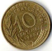 10 сентим. Франция. 1980 год.