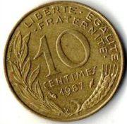 10 сентим. Франция. 1987 год.