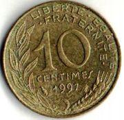 10 сентим. Франция. 1997 год.