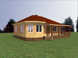 Проект Дом одноэтажный 7х9м, 65 м2 + терраса 17,4 м2