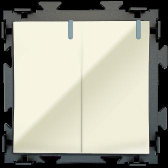 Двухклавишный переключатель  бежевый проходной CGSS «Практика» PL-W102-PBGG