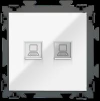 """Розетка интернет двойная RJ45*2 белая CGSS """"Практика"""" PL-W201C2-WCG"""