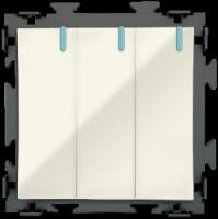 Трехклавишный  бежевый выключатель CGSS «Практика»  PL-W103-BGG