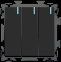 Трехклавишный  выключатель черный матовый CGSS «Практика»  PL-W103-BCM