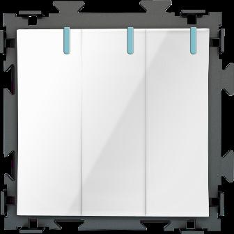 Трехклавишный  переключатель белый проходной CGSS «Практика»  PL-W103-PWCG
