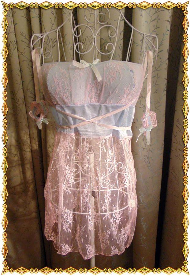 Розово-голубая сорочка