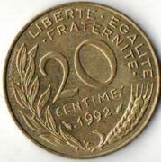 20 сентим. Франция. 1992 год.