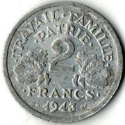 2 франка.  Франция. 1943 год.