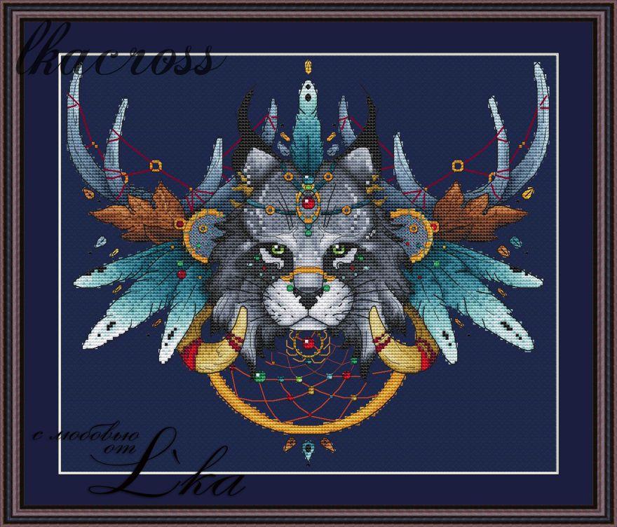 """""""Ловец снов - Рысь"""". Схема/набор для вышивания крестиком."""