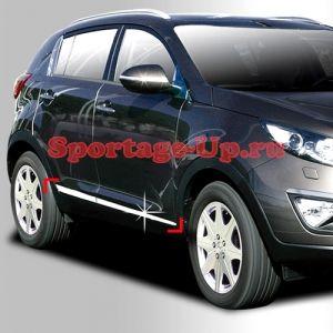 Молдинги нижних кромок дверей AutoClover, VW Touareg Style, хром