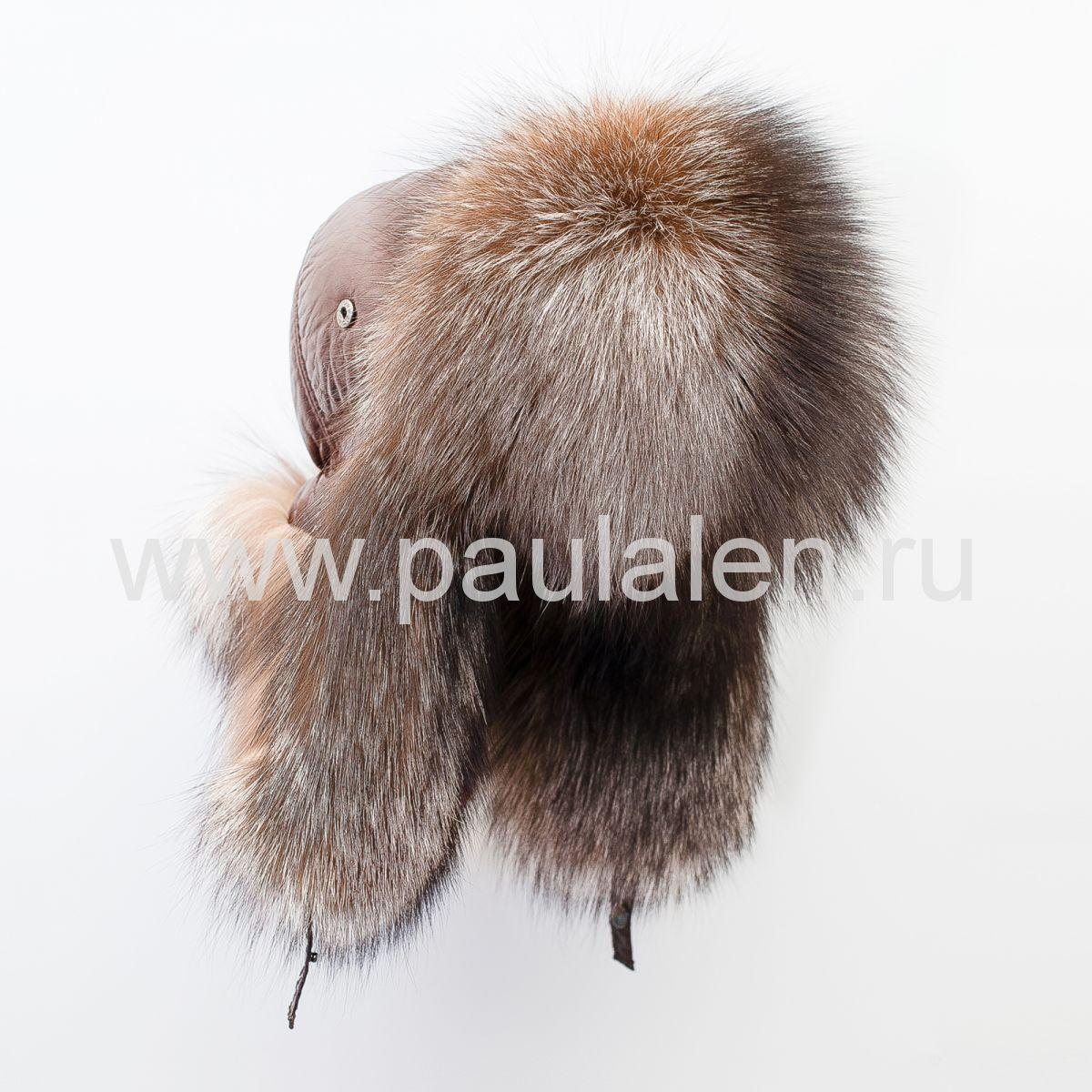 Женская меховая шапка ушанка из меха чернобурки (A016)