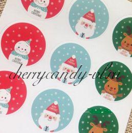 Наклейка стикер для упаковки Снеговик, Санта и Олененок, 18 наклеек