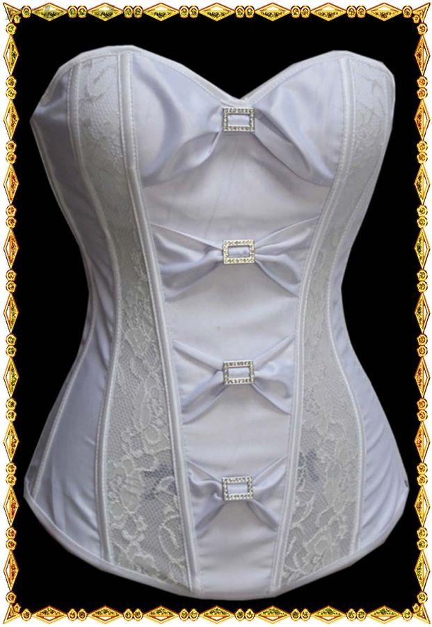 Свадебный белый корсет с кружевными вставками