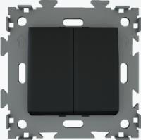 Выключатель двухклавишный черный  CGSS W102 BC