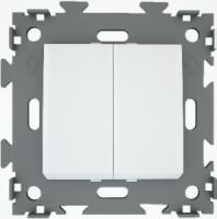 Переключатель проходной двухклавишный белый  CGSS W102 PWC