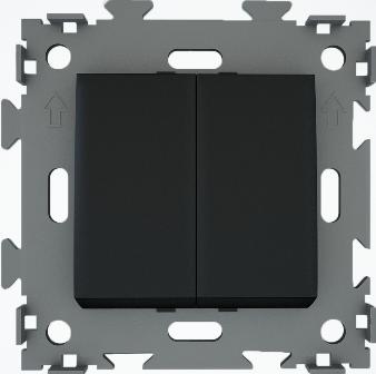 Переключатель проходной двухклавишный черный  CGSS W102 PBC