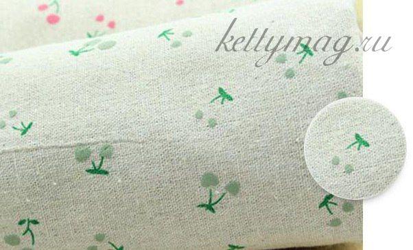Лен с рисунком для шитья и вышивания (зеленые вишенки)