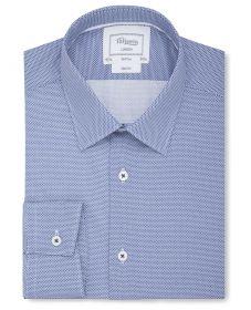 Мужская рубашка синяя с мелким рисунком T.M.Lewin приталенная Slim Fit (54357)