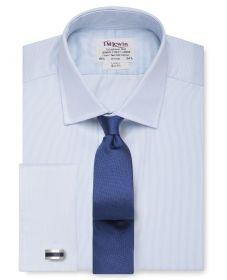 Мужская рубашка под запонки светло-синяя в мелкую полоску T.M.Lewin приталенная Slim Fit (54436)