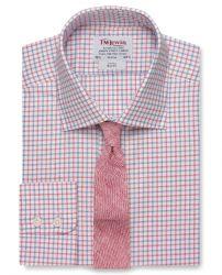 Мужская рубашка в красно-синюю клетку T.M.Lewin приталенная Slim Fit (54467)