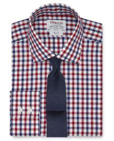 Мужская рубашка в крупную красно-синюю клетку T.M.Lewin приталенная Slim Fit (55529)