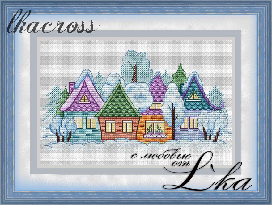 """""""Деревенька"""". Схема для вышивания крестиком."""
