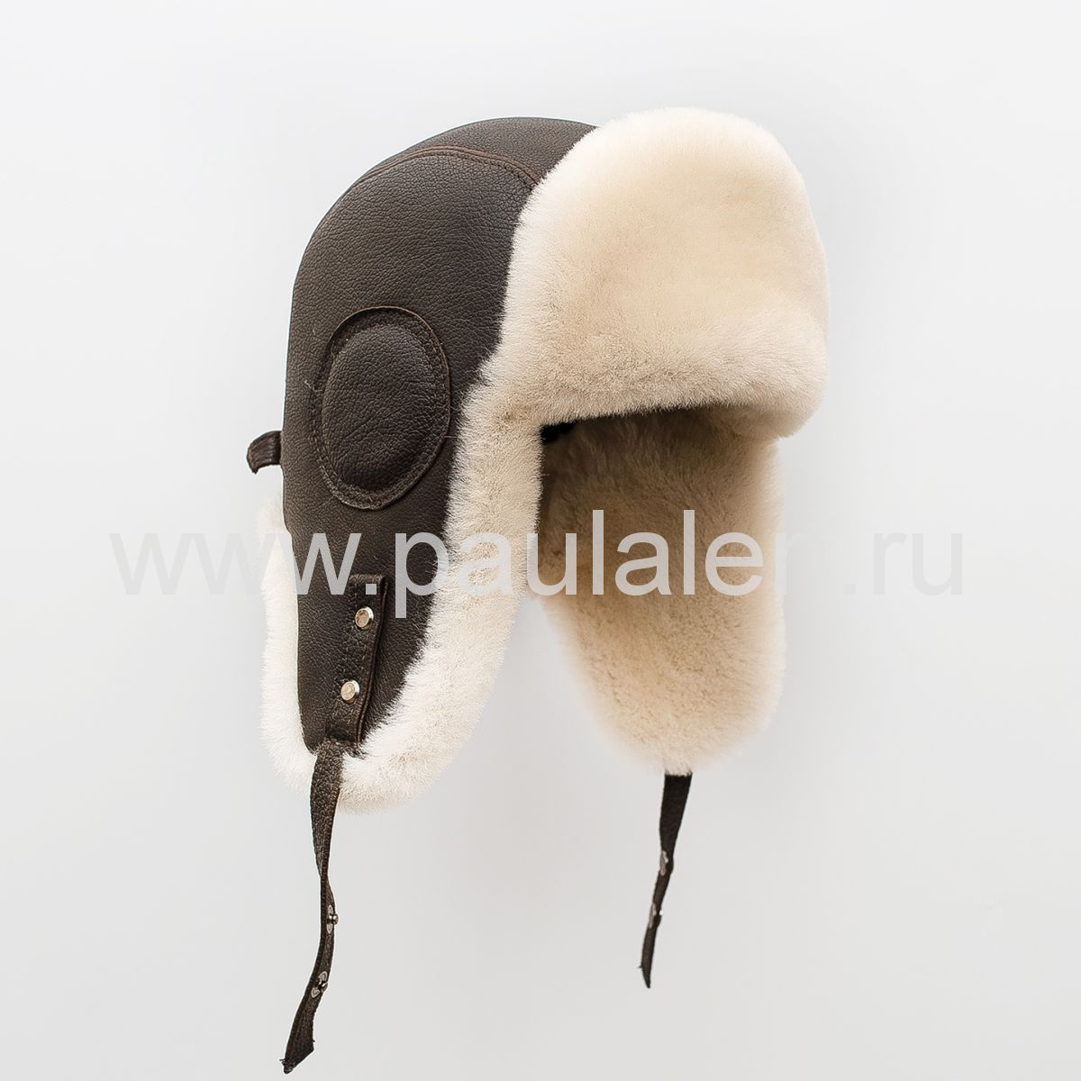 Мужской шлем Авиатор из меха овчины и натуральной кожи