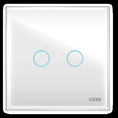 Двухлинейная панель стеклянная белая CGSS WT-P02W