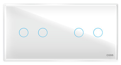 Четырехлинейная панель стеклянная белая на два поста CGSS WT-P04W