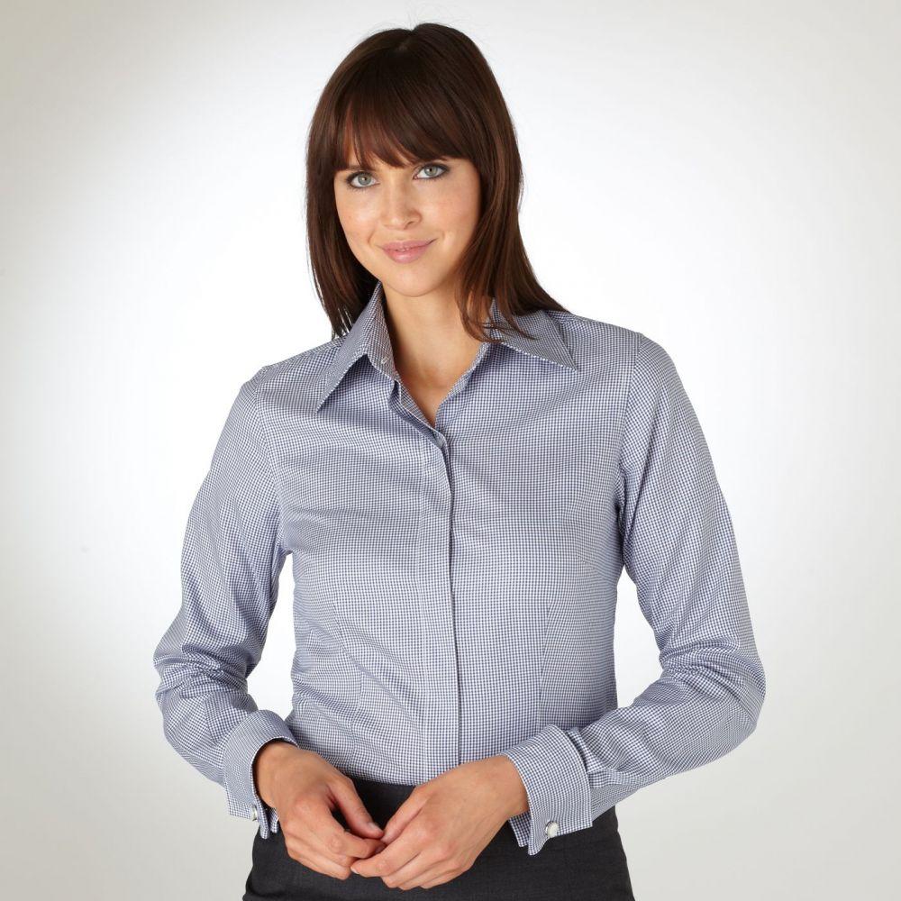 86365b26a2e Женская рубашка под запонки в мелкую серую клетку T.M.Lewin приталенная  Fitted (44085)