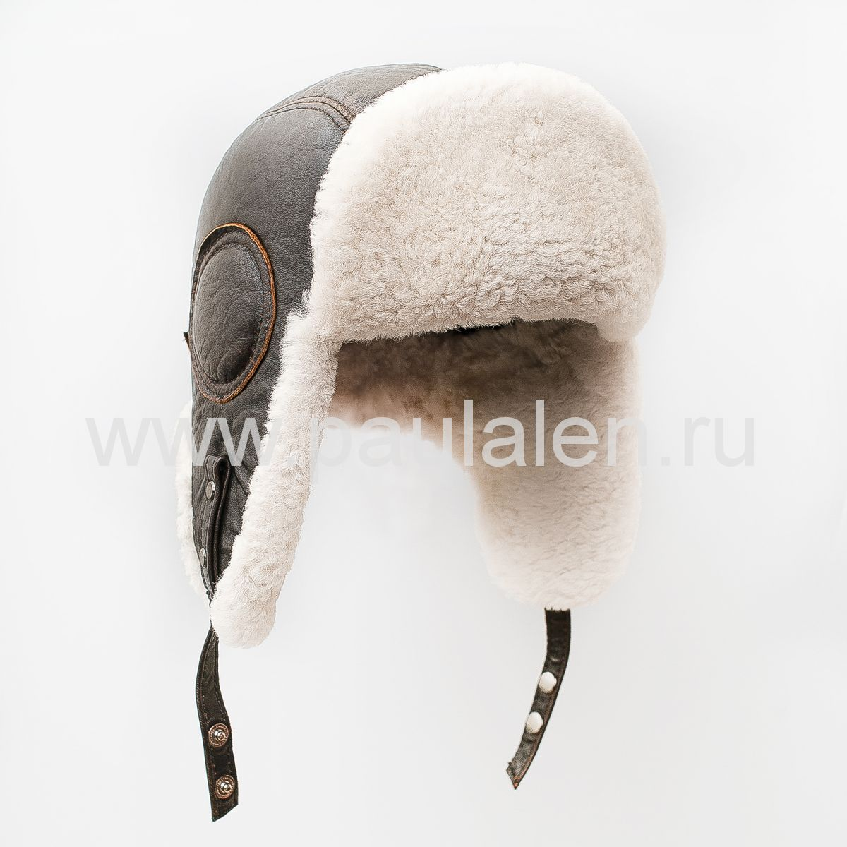 Ушанка меховая Авиатор из меха овчины и кожи