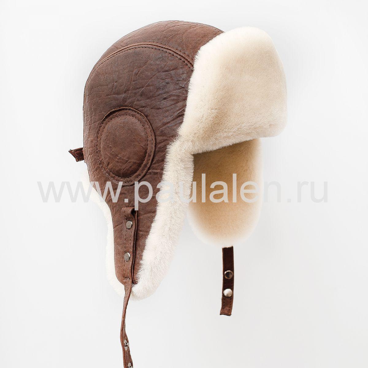 Модная меховая шапка Авиатор из овчины.